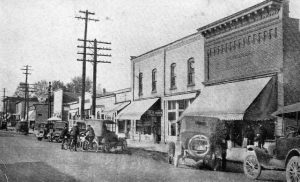 East Side of Main Street facing north in 1910